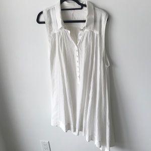 Free people white tank dress asymmetrical bottom